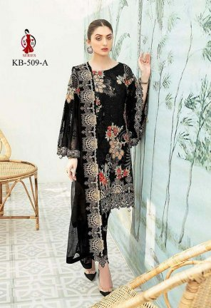 black heavy georgette fabric heavy embroidery work festival