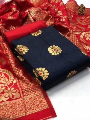 navy blue banarasi jacquard fabric weaving work casual