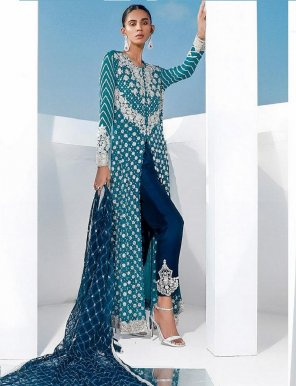 sky blue fox georgette fabric heavy embroidery with diamond work wedding