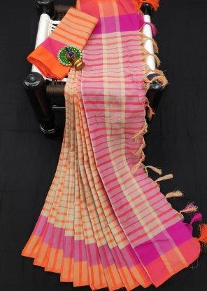 orange cotton silk fabric line print work casual