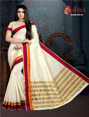 off white poly cotton fabric border work festival