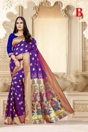 purple lichi silk fabric weaving work festival