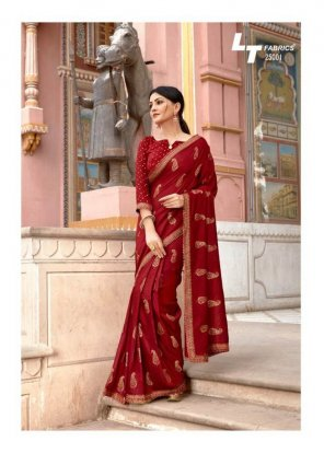 maroon cotton silk fabric gold print with embroidery work festival