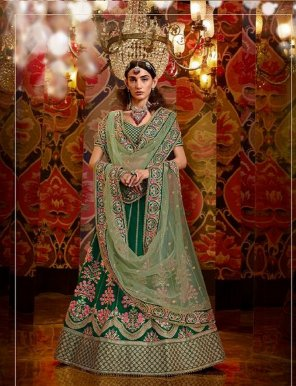 green pure raw fabric heavy embroidery  work wedding
