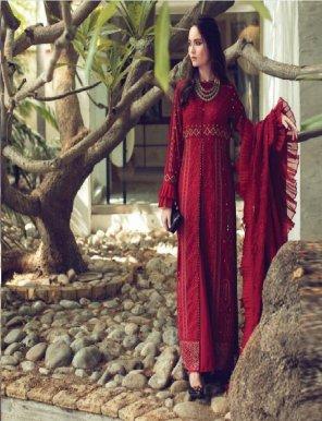 maroon cambric cotton fabric chikankari  work festival