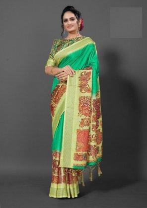 mint manipuri silk fabric digital print work festival