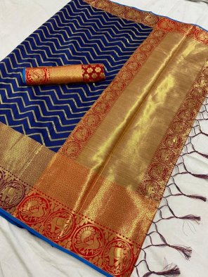 blue kanjivaram silk fabric theard work wedding