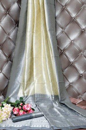 lime lichi silk fabric plain work party