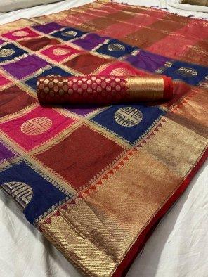 multi kanjivaram silk fabric theard work wedding