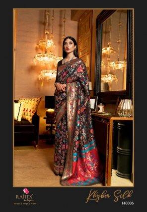 black chanderi silk fabric weaving work wedding