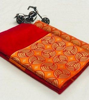 red chanderi silk fabric weaving work wedding