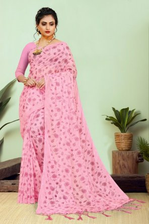 pink pure cotton silk fabric printed work festival