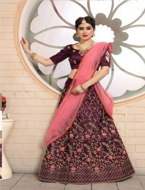 maroon pure satine fabric embroidery zari work wedding