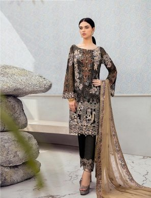black faux georgette fabric heavy embroidery work festival