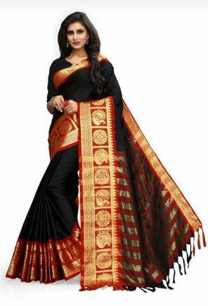 black soft cotton silk fabric weaving work festival