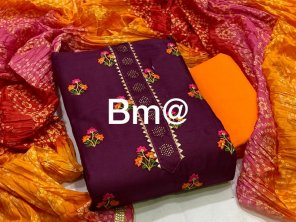 magenta cotton fabric embroidery work casual