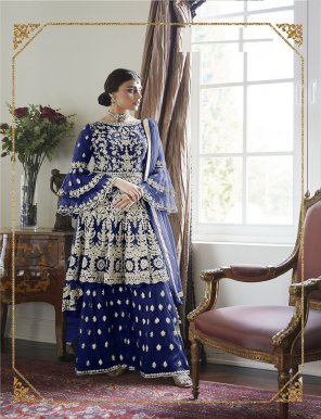 navy blue butterfly net fabric embroidery work wedding