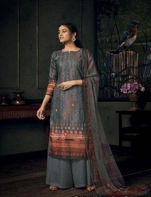 stone grey pure pashmina fabric fancy ari embroidery  work festival