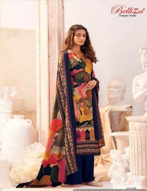 navy blue pure pashmina fabric digital print work casual