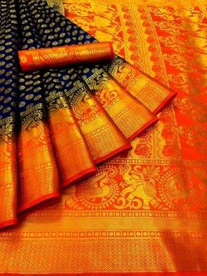 navy blue banarasi soft silk fabric weaving work festival