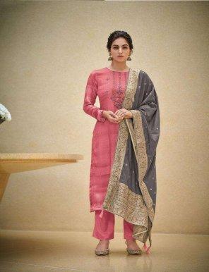 blush pink woven pasmina fabric thread handwork work festival