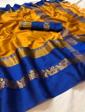 gold yellow cotton silk fabric weaving work casual