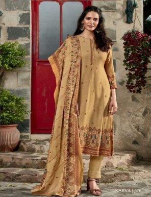 chikoo pashmina fabric digital print with neck patti work casual