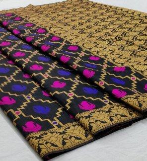 black linen cotton silk fabric weaving work festival