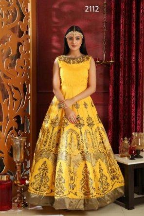 light yellow silk fabric zardosi and handwork work party