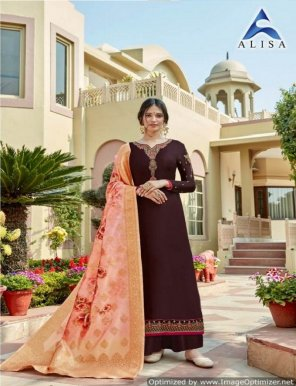 coffee satin georgette fabric embroidery work festival