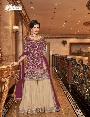 maroon premium net fabric heavy embroidery work wedding