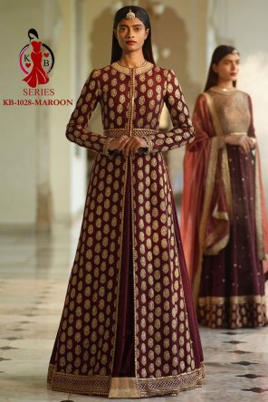 maroon heavy silk fabric embroidery with dori work wedding