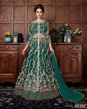 batli green soft net fabric heavy embroidery work festival