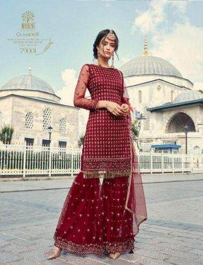 maroon net fabric thrard & zari work festival
