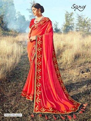 orange red banglori silk fabric embroidery work party