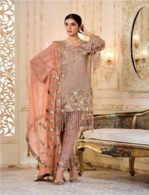 butter cream faux georgette fabric heavy embroidery work festival
