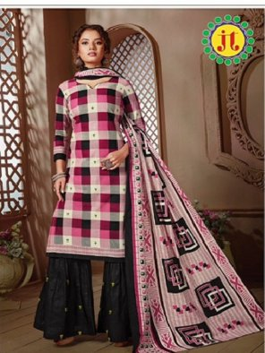 pink with black pure cotton fabric print work casual