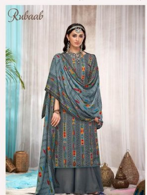 grey pure pashmina fabric print with fancy mirror work festival