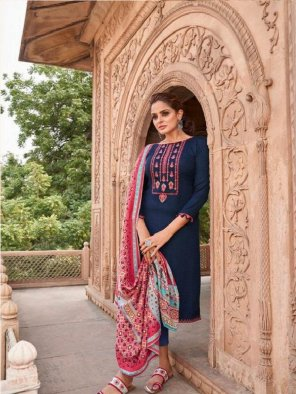navy blue pure pashmina  fabric embroidery work festival
