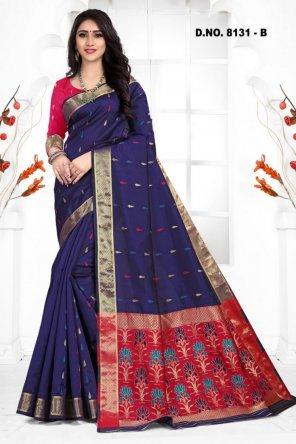 navy blue handloom cotton silk fabric weaving work festival