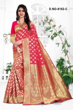 rani pink handloom cotton silk fabric weaving work festival