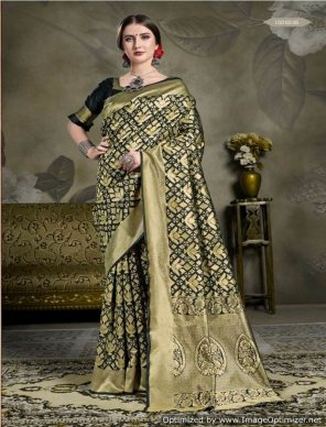 black tanchui art silk fabric weaving work wedding
