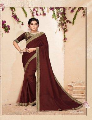 maroon vichitra silk fabric plain with border work festival