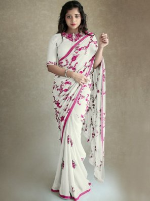 white georgette fabric embroidery work party