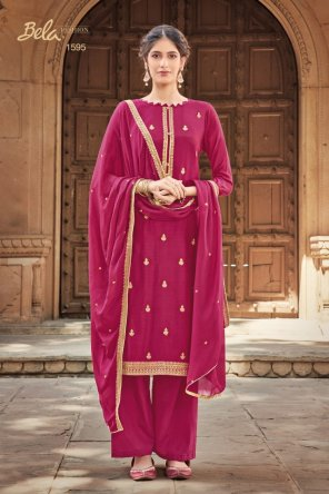 rani pink cotton silk fabric embroidery work festival
