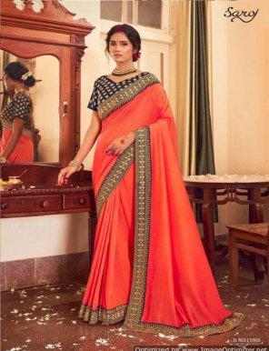 orange vichitra silk fabric vichitra silk work festival
