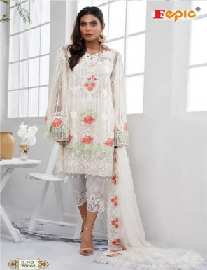 white georgette fabric embroidery work festival