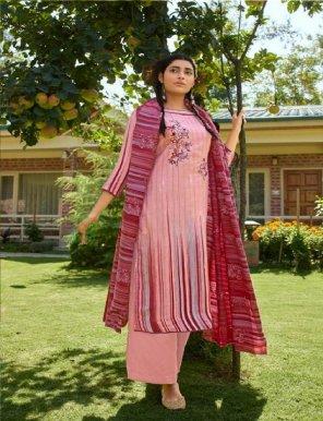 baby pink pashmina fabric printed work festival