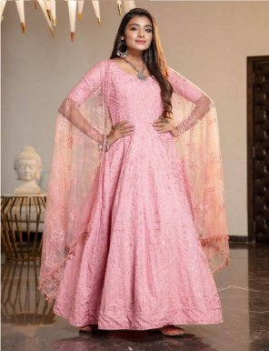 pink georgette fabric diamond work party