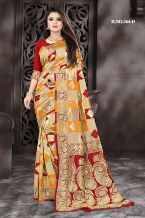 multi cotton silk fabric weaving work wedding